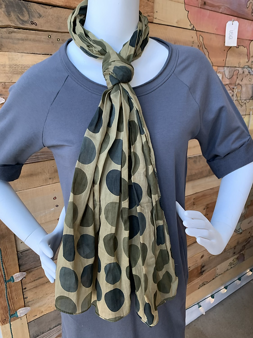 Green Dots Cotton Scarf