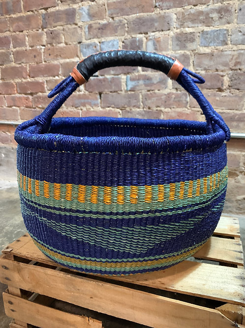 Handwoven Basket Blue with Yellow