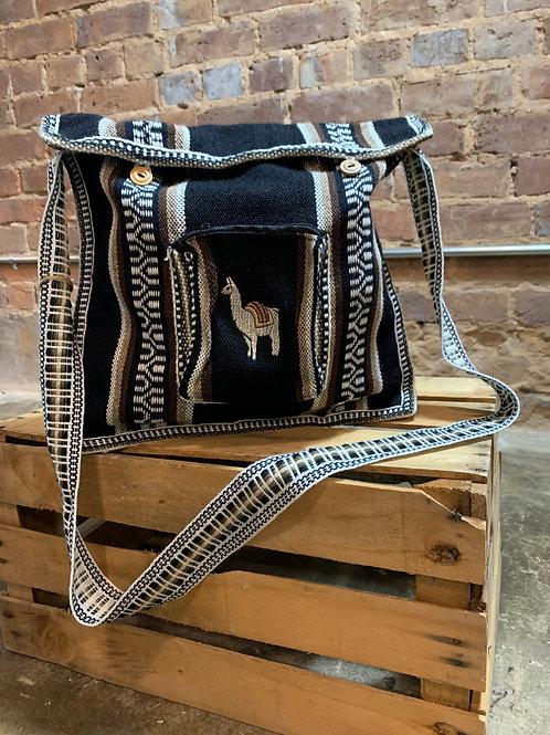 Llama Woven Tote Bag Black