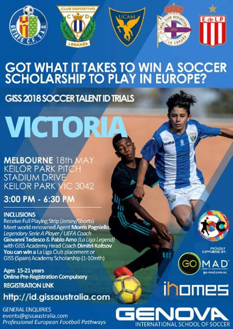 GISS Australia Invitation to VIC Clubs re: Talent ID Trials to award Soccer Scholarships