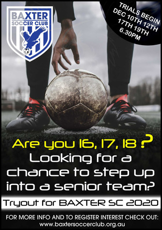 16 - 18yr men welcomed to tryout out for reserves or senior squad