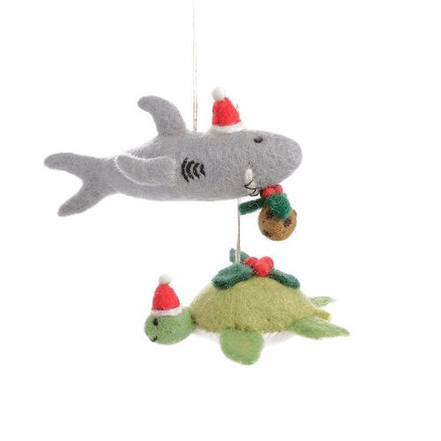 Shark with Christmas Pudding