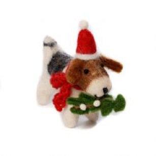 Freddie Mini Fox Terrier with Mistletoe