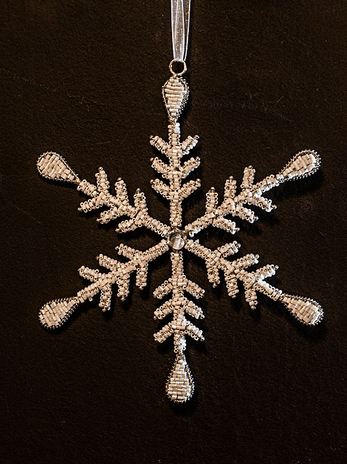 White Beaded Snowflake with Bead Centre
