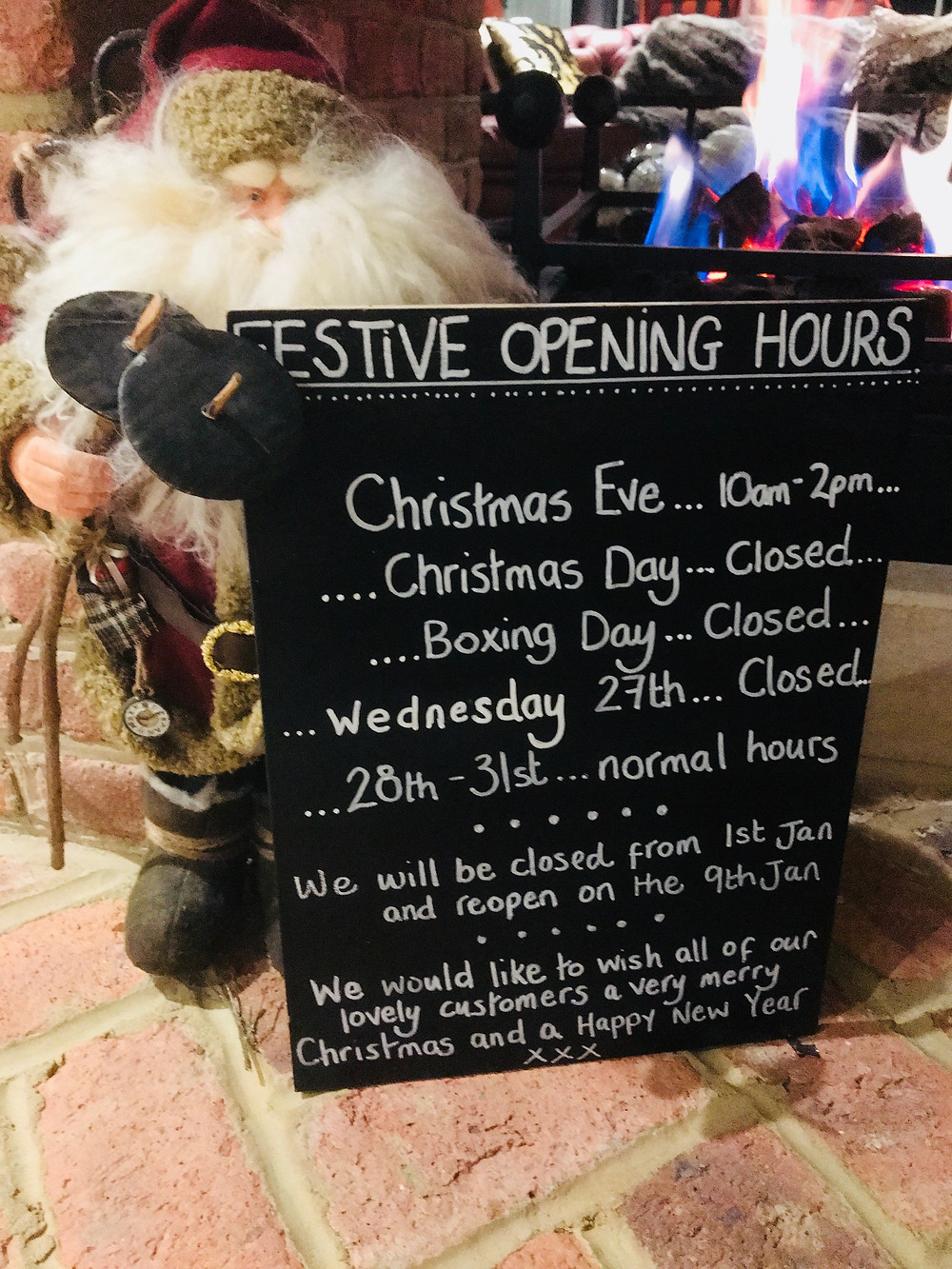 Here are our opening hours over the coming weeks.