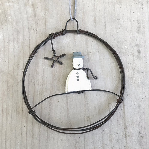 Sml hanging metal wreath-Snowman