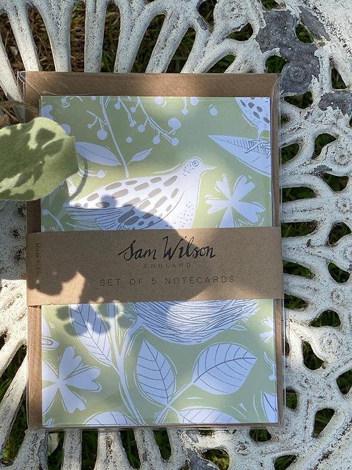 Sam Wilson Hedgerow Notecard Set. Pack of 5