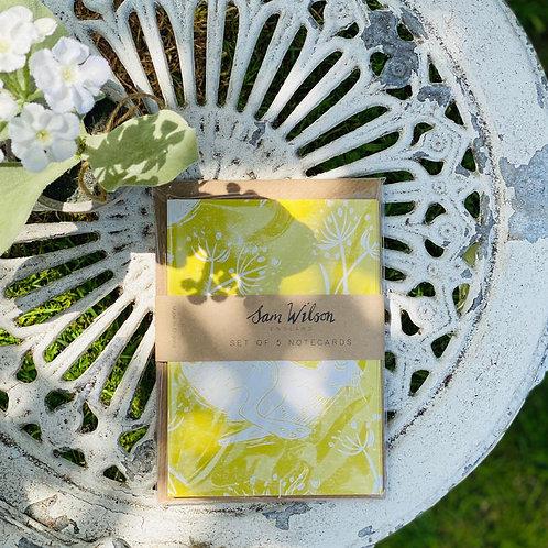 Sam Wilson Headlong Hare Yellow Notecard Set. Pack of 5
