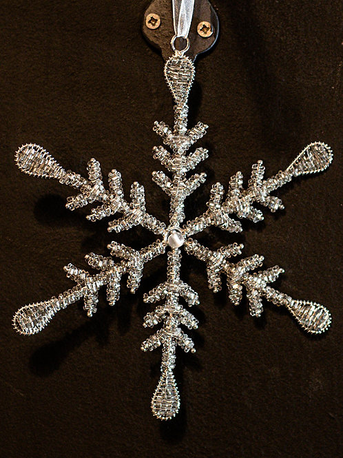 Silver Beaded Snowflake with Bead Centre