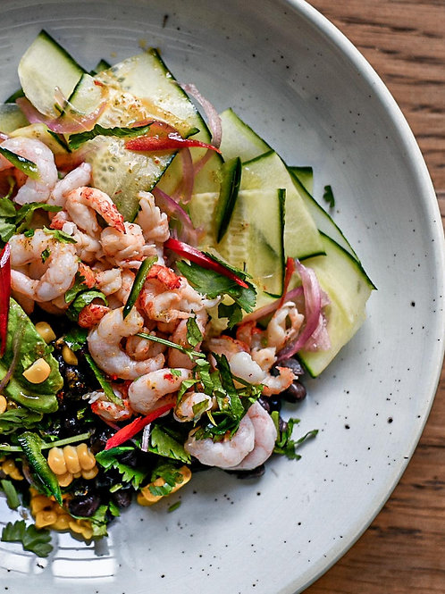 Prawn and Black Bean Salad with Lime and Chilli For One