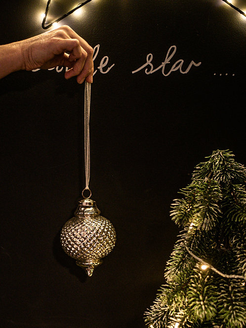Large Silver Glass Spindle Bauble