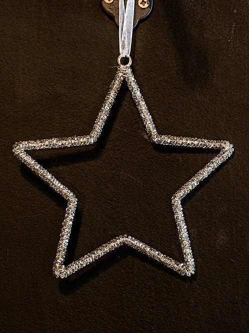 Hanging Silver Beaded Star 10cm approx