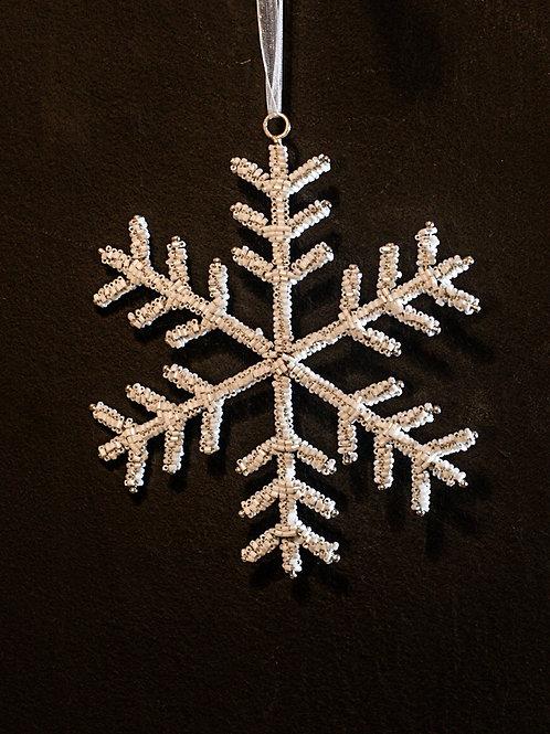 White Beaded Snowflake Decoration