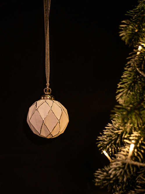 Antique finish Ivory Bauble with crown detail