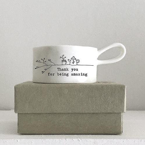 Handled tea light holder-Thank you