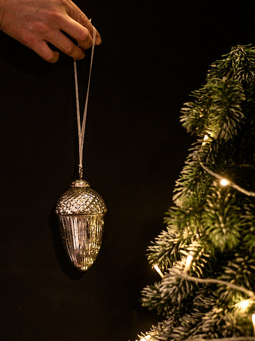 Silver Glass Large Acorn Bauble