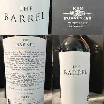 EXCLUSIVE AT HATTONS - THE BARREL!! Ken Forresters iconic wine now available!