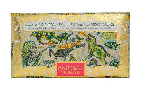 Dinosaurs Handmade Milk Chocolate with Sea Salt and Crispy Crunch