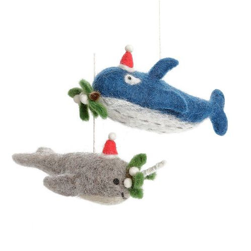 Blue Whale with Mistletoe Sprig