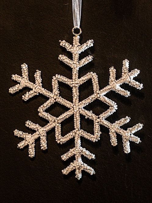White Beaded Snowflake with Centre Detail