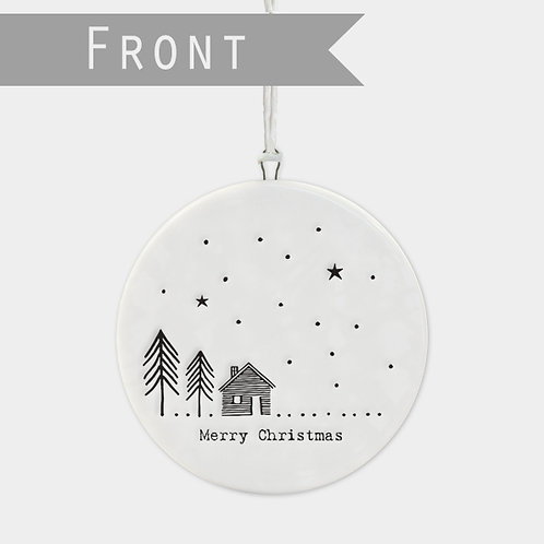 Flat porcelain bauble-Cabin in the woods Reversible