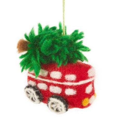 Handmade Felt Festive London Bus Christmas Tree Hanging Decoration