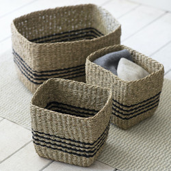 Set of 3 Striped Storage Baskets