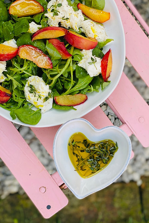 Oven Roasted Peaches , Shallots, Mozzarella Salad For Two