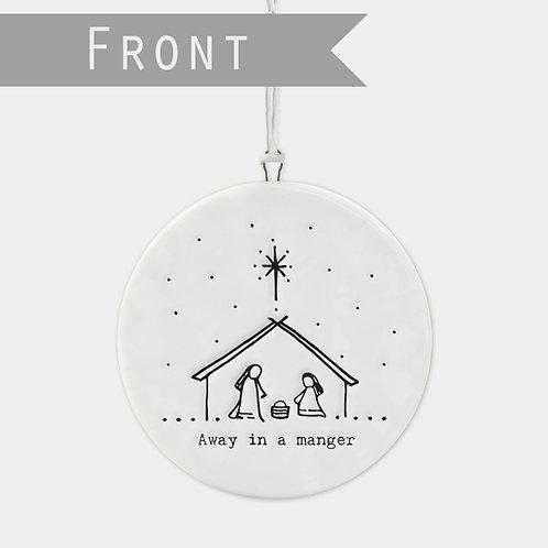 Flat porcelain bauble-Nativity scene