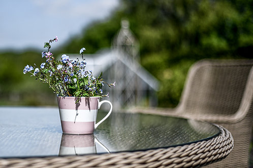 Pink & White Stripe porcelain mug