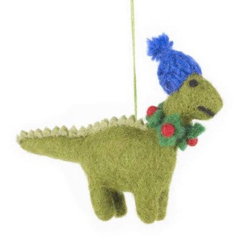 Handmade Biodegradable Felt Hanging Cosy Dinosaur Christmas Tree Decoration