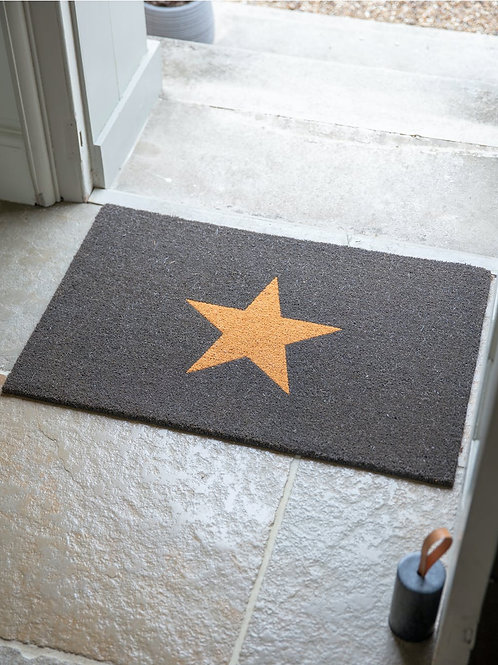 CHARCOAL STAR DOORMAT COIR