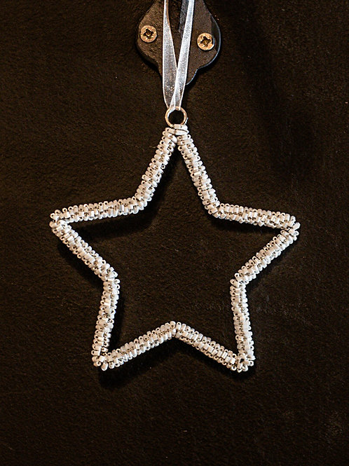 Hanging White Beaded Star Approx 10cm