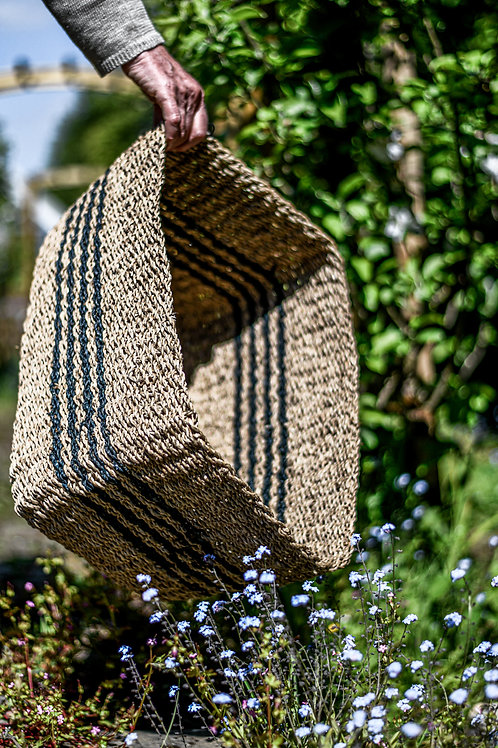 Rustic basket with stripes