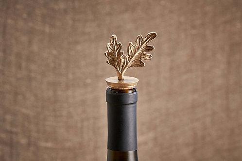 Oak Leaf Brass Bottle Stopper
