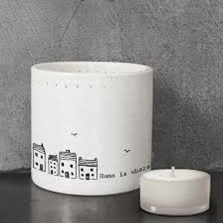 Porcelain Tea Light Holder.. Home is where the heart is ....