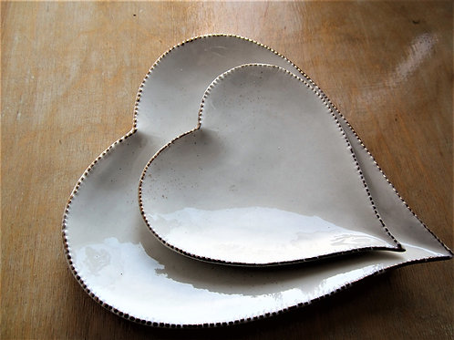 White ceramic Heart Dish with Gold effect edge