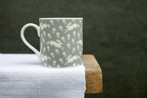 Running Hare Grey Pattern Mug