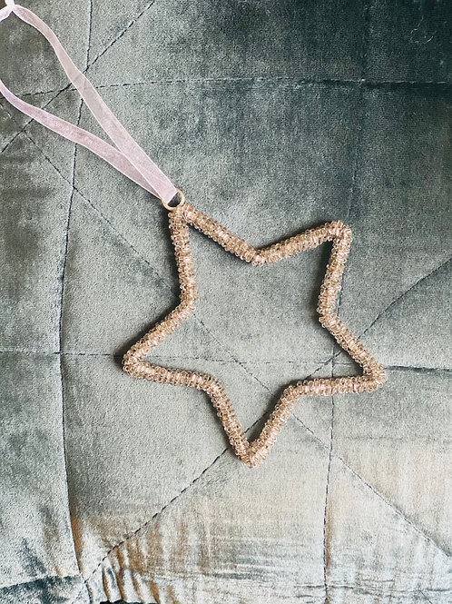 Hanging Drk Silver Beaded Star 10cm approx