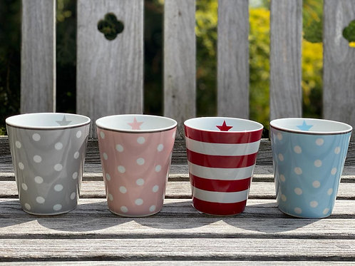Porcelain beakers , great for brightening up any table