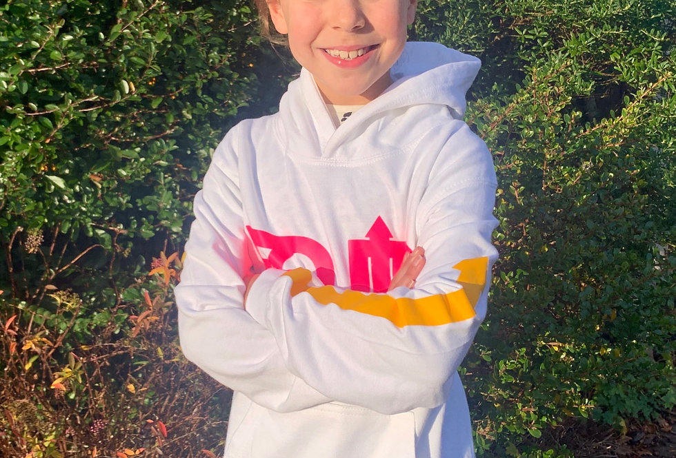 Junior Hoodie | White & Electric Pink