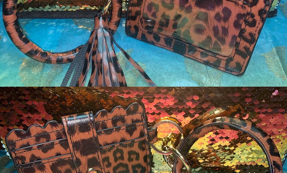 Brown Leopard CC Wristlet