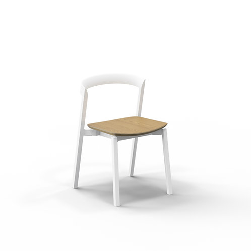 Mornington Stone Stacking Chair with Natural Oak Veneer Seat