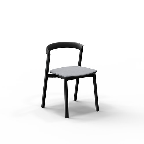 Mornington Graphite Stacking Chair with Removable Seat Cushion