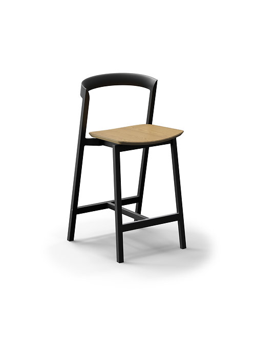 Mornington Graphite Counter Stool with Natural Oak Veneer Seat