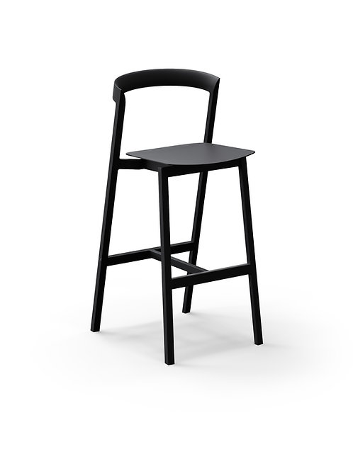 Mornington Graphite Bar Stool with Aluminium Seat