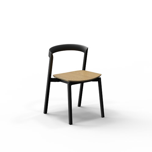 Mornington Graphite Stacking Chair with Natural Oak Veneer Seat