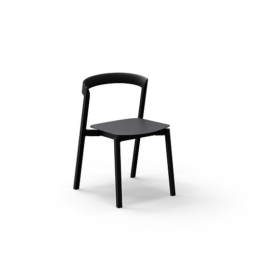 Mornington Graphite Stacking Chair with Aluminium Seat