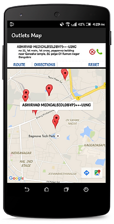 Impact Executive Mobile App Outlet Map View