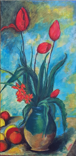 After Cezanne Tulips in Vase